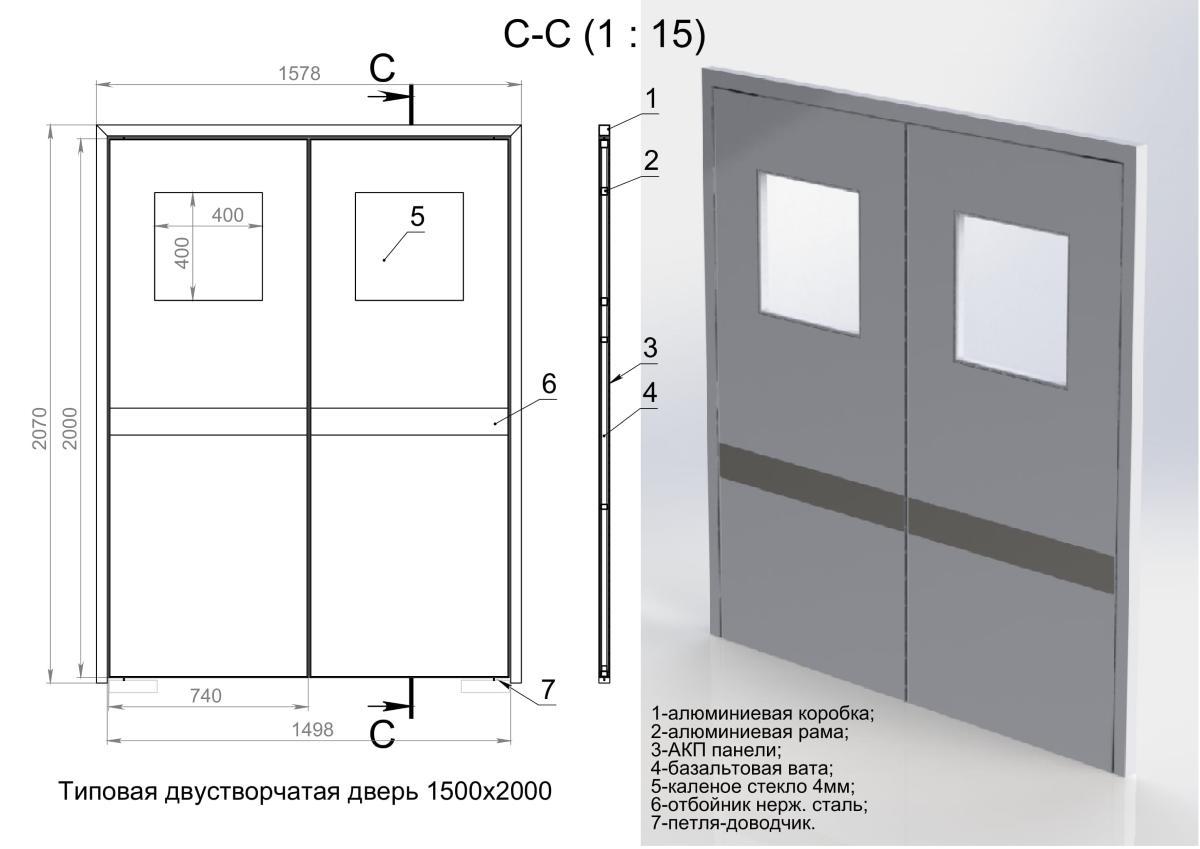 Двустворчатые двери для больниц